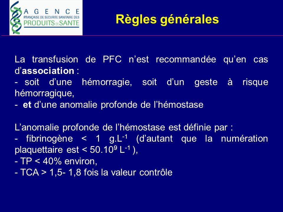 Règles généralesLa transfusion de PFC n'est recommandée qu'en cas d'association : - soit d'une hémorragie, soit d'un geste à risque hémorragique,