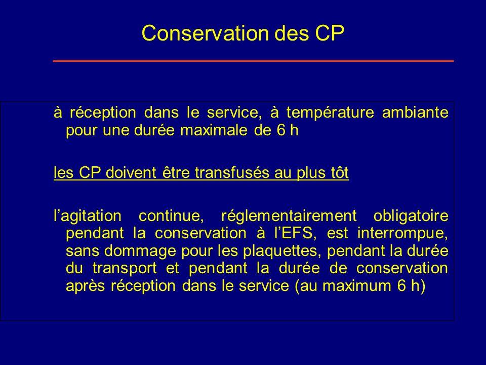 Conservation des CP à réception dans le service, à température ambiante pour une durée maximale de 6 h.