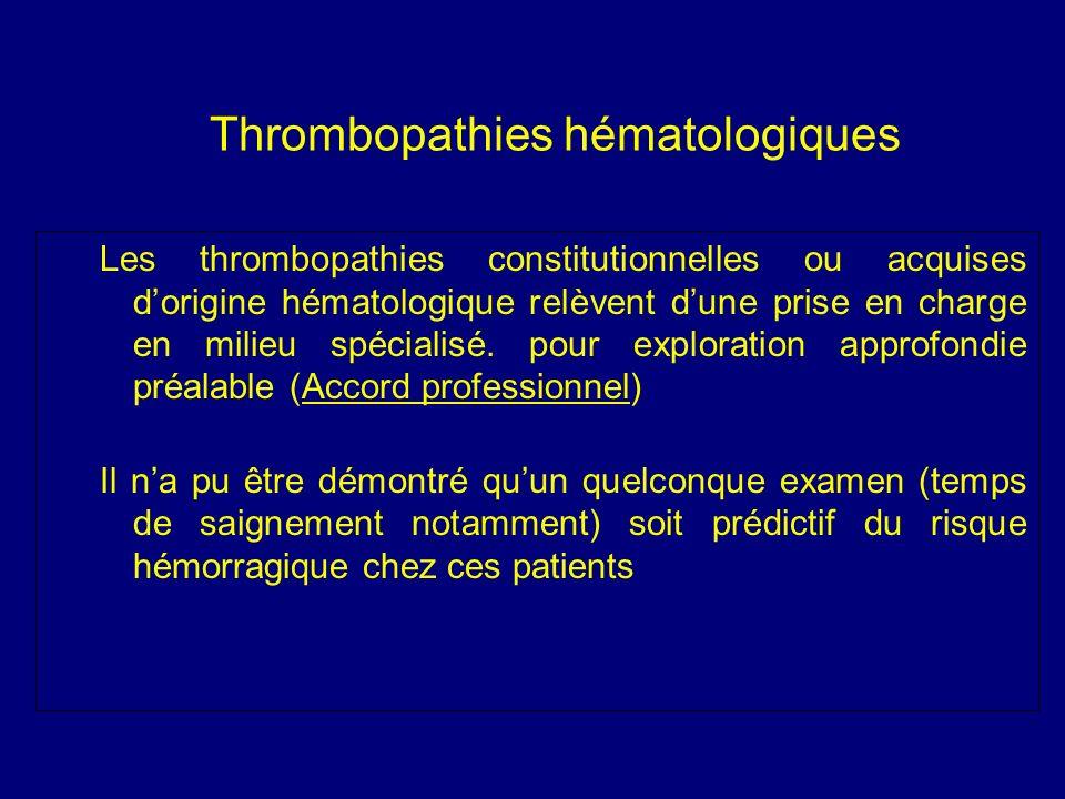 Thrombopathies hématologiques