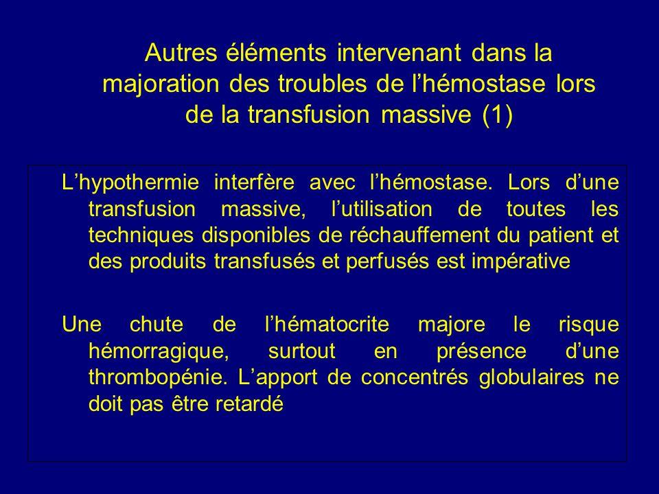 Autres éléments intervenant dans la majoration des troubles de l'hémostase lors de la transfusion massive (1)