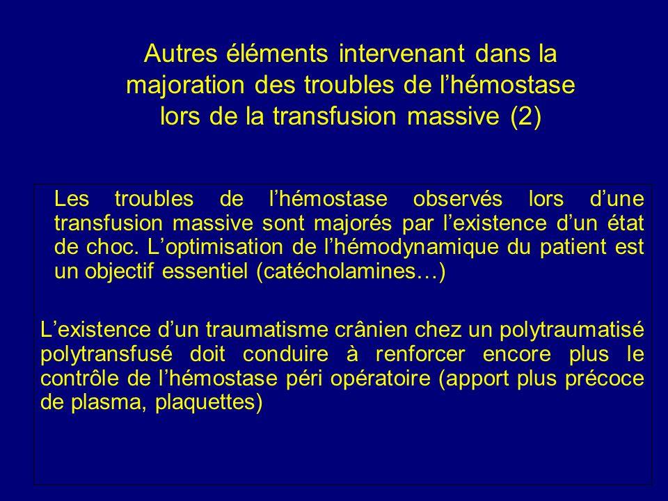 Autres éléments intervenant dans la majoration des troubles de l'hémostase lors de la transfusion massive (2)
