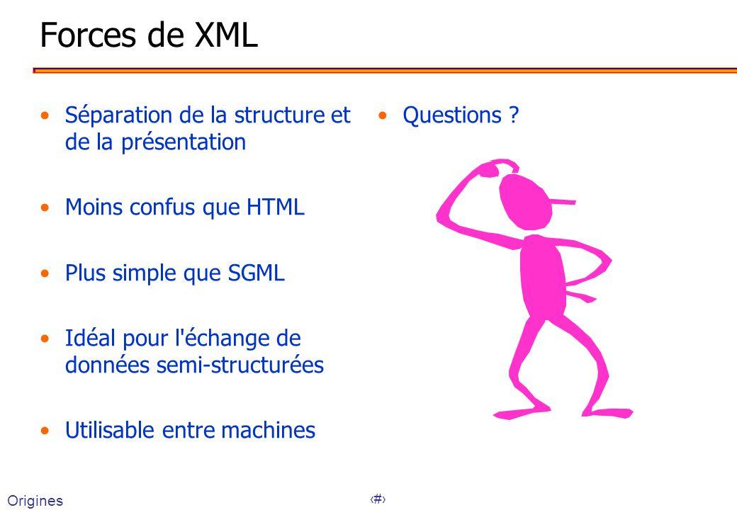 Forces de XML Séparation de la structure et de la présentation