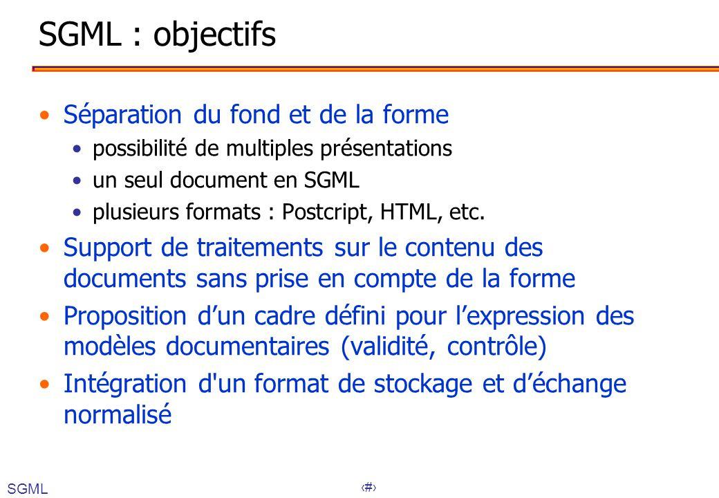 SGML : objectifs Séparation du fond et de la forme