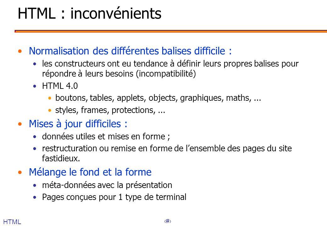 HTML : inconvénients Normalisation des différentes balises difficile :