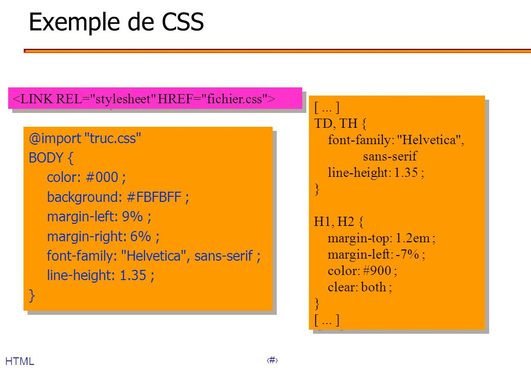 Exemple de CSS <LINK REL= stylesheet HREF= fichier.css >