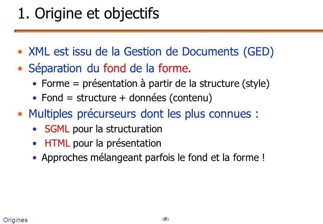 1. Origine et objectifs XML est issu de la Gestion de Documents (GED)