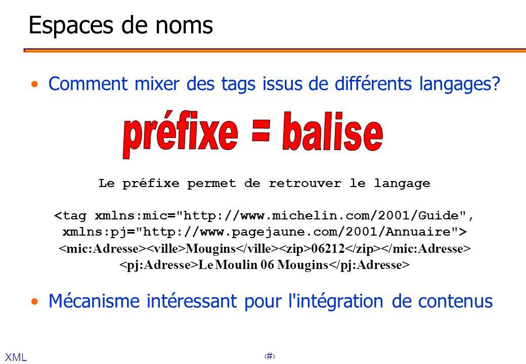Espaces de noms Comment mixer des tags issus de différents langages