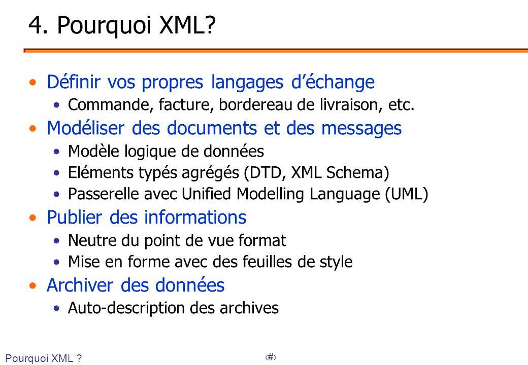 4. Pourquoi XML Définir vos propres langages d'échange