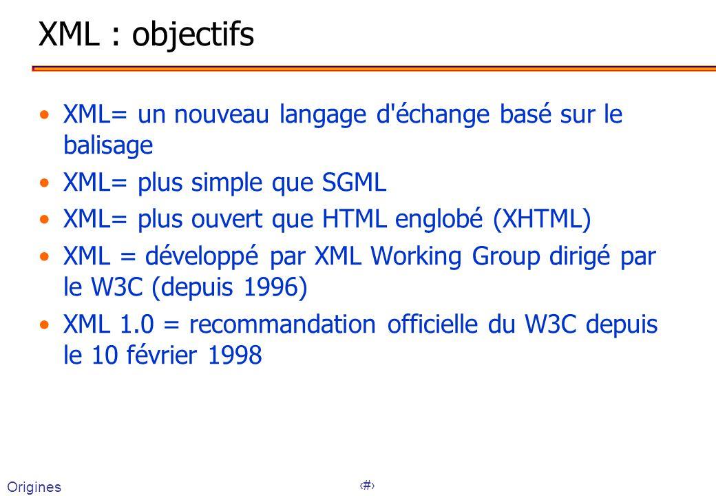 XML : objectifs XML= un nouveau langage d échange basé sur le balisage