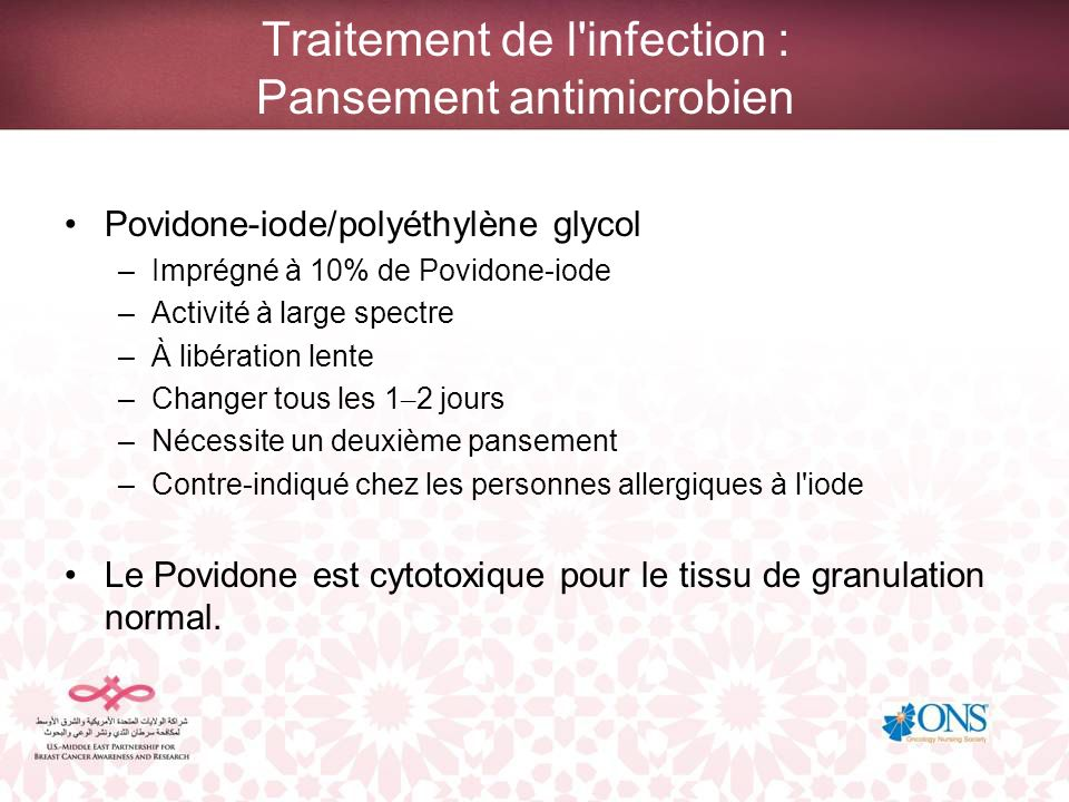 Traitement de l infection : Pansement antimicrobien
