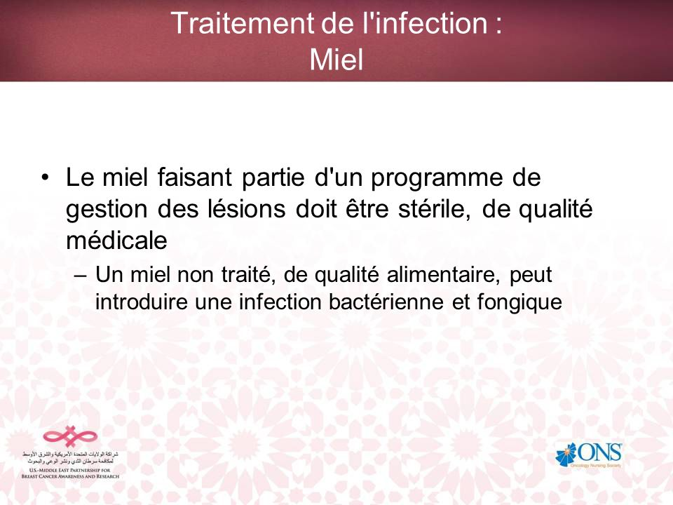 Traitement de l infection : Miel