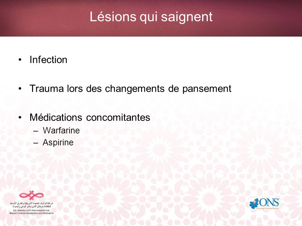 Lésions qui saignent Infection