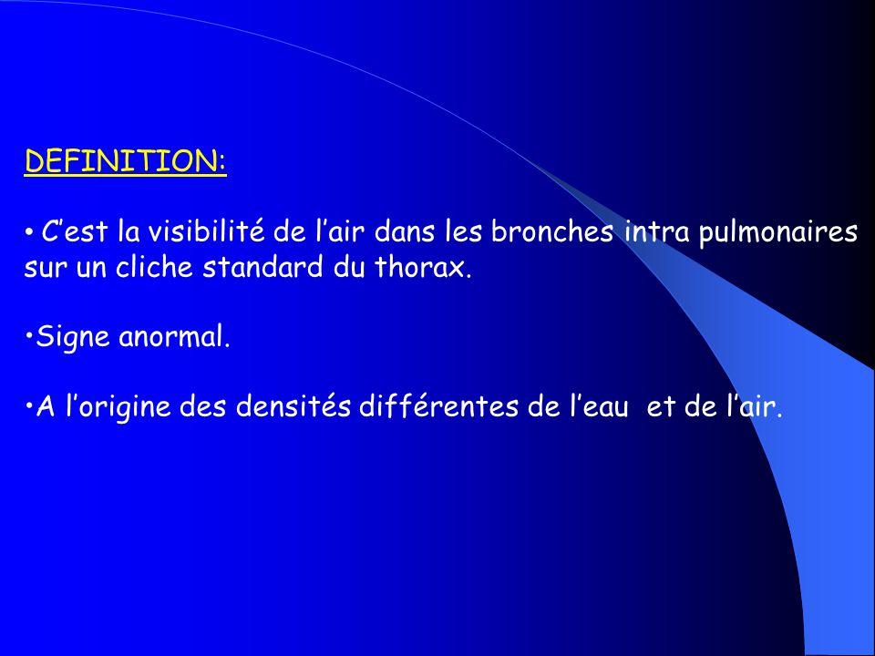DEFINITION: C'est la visibilité de l'air dans les bronches intra pulmonaires. sur un cliche standard du thorax.