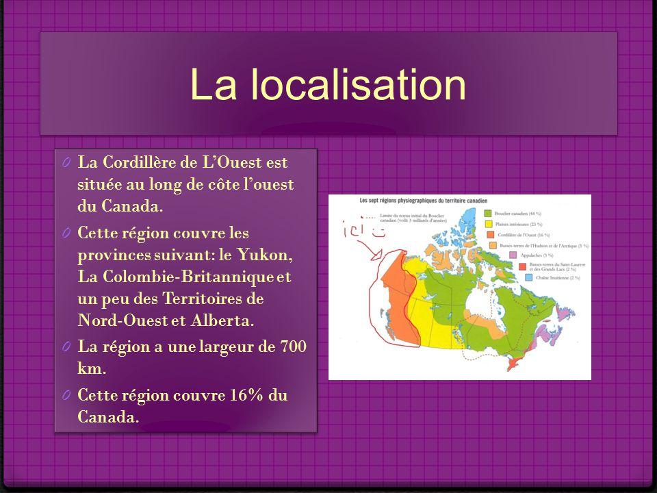 La localisation La Cordillère de L'Ouest est située au long de côte l'ouest du Canada.