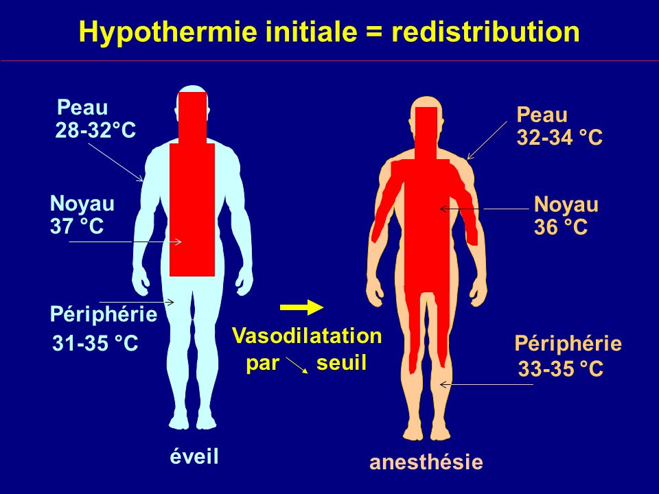 Hypothermie initiale = redistribution