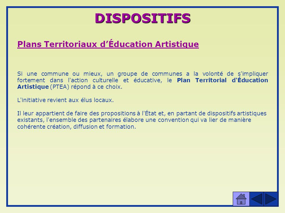 DISPOSITIFS Plans Territoriaux d'Éducation Artistique