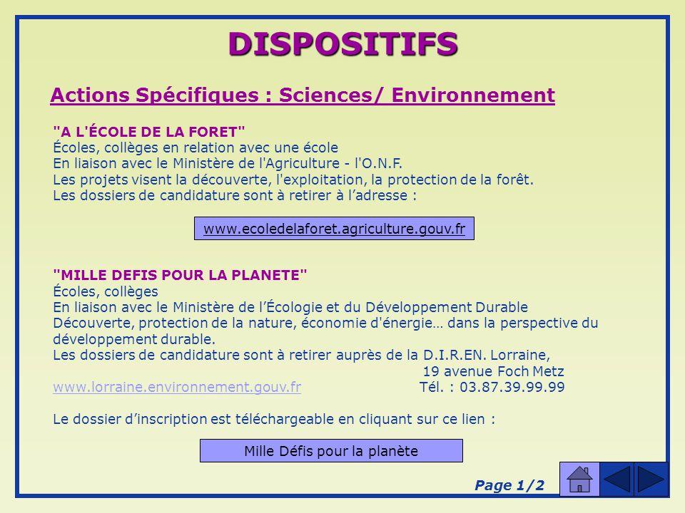 Actions Spécifiques : Sciences/ Environnement