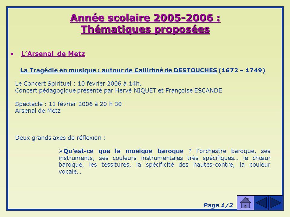 Année scolaire 2005-2006 : Thématiques proposées