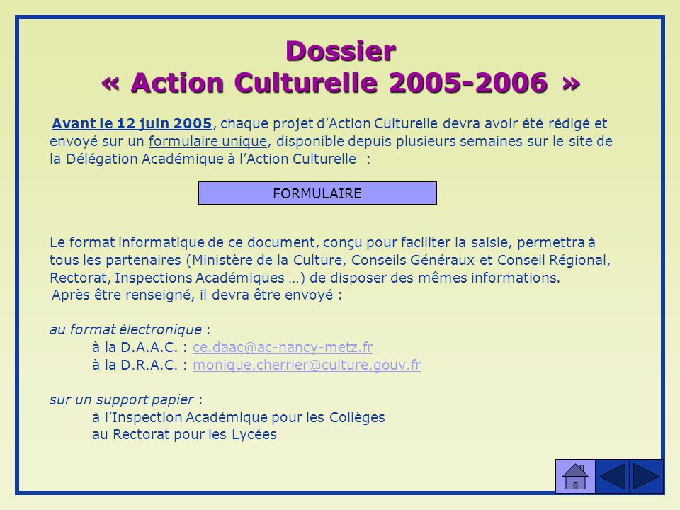 Dossier « Action Culturelle 2005-2006 »