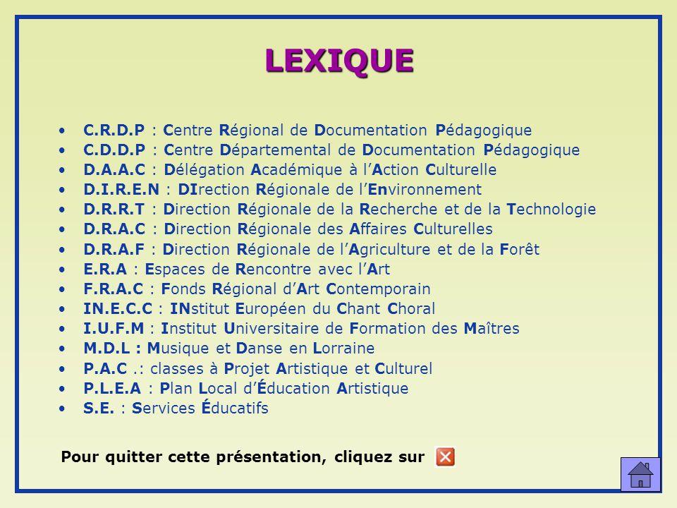 LEXIQUE C.R.D.P : Centre Régional de Documentation Pédagogique