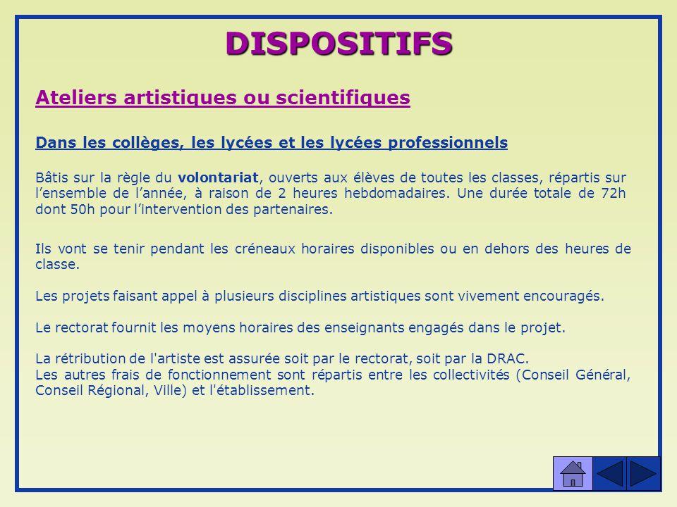 DISPOSITIFS Ateliers artistiques ou scientifiques