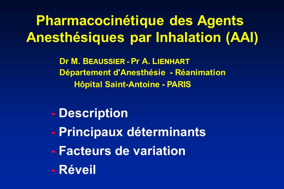 Pharmacocinétique des Agents Anesthésiques par Inhalation (AAI)