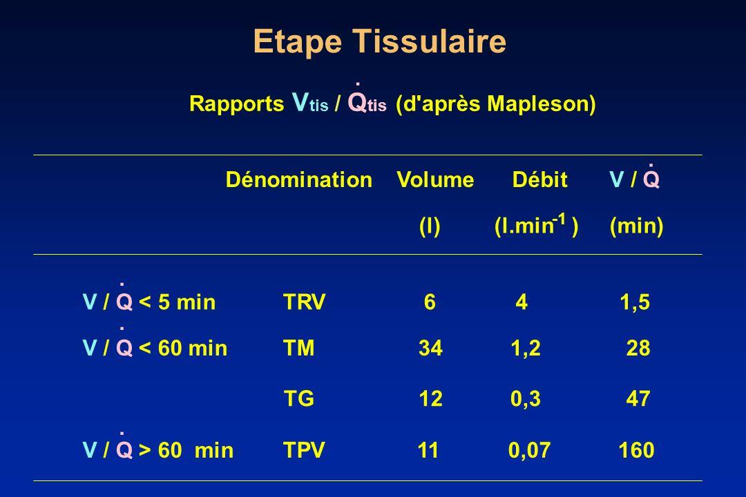 Etape Tissulaire . Rapports Vtis / Qtis (d après Mapleson) .