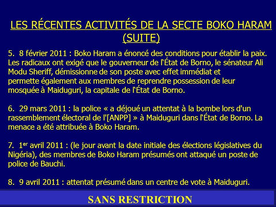 LES RÉCENTES ACTIVITÉS DE LA SECTE BOKO HARAM