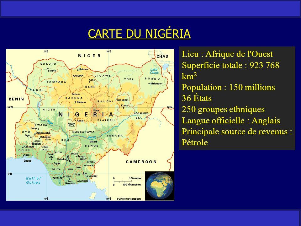 CARTE DU NIGÉRIA Lieu : Afrique de l Ouest