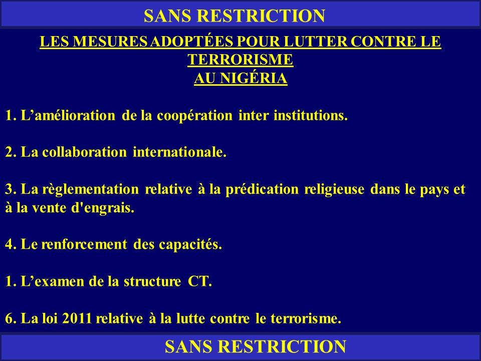 LES MESURES ADOPTÉES POUR LUTTER CONTRE LE TERRORISME
