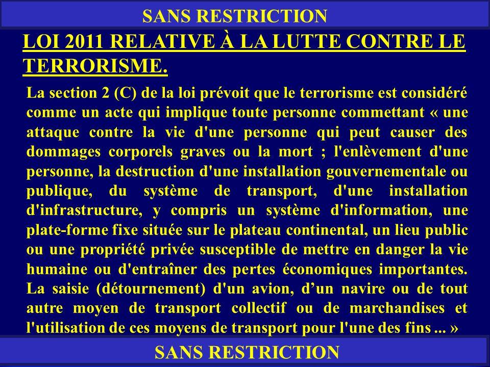 LOI 2011 RELATIVE À LA LUTTE CONTRE LE TERRORISME.
