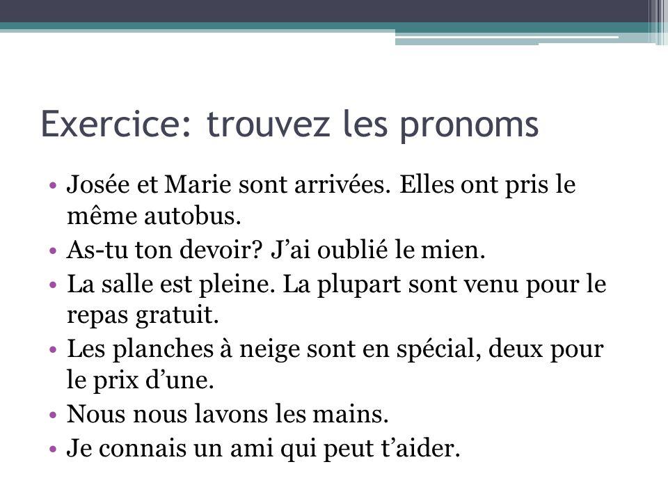 Exercice: trouvez les pronoms
