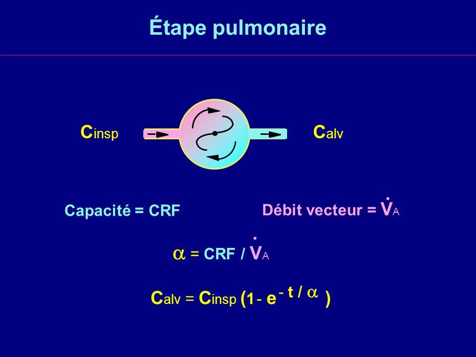 Étape pulmonaire  = CRF / VA Cinsp Calv . . Calv = Cinsp (1 - e )