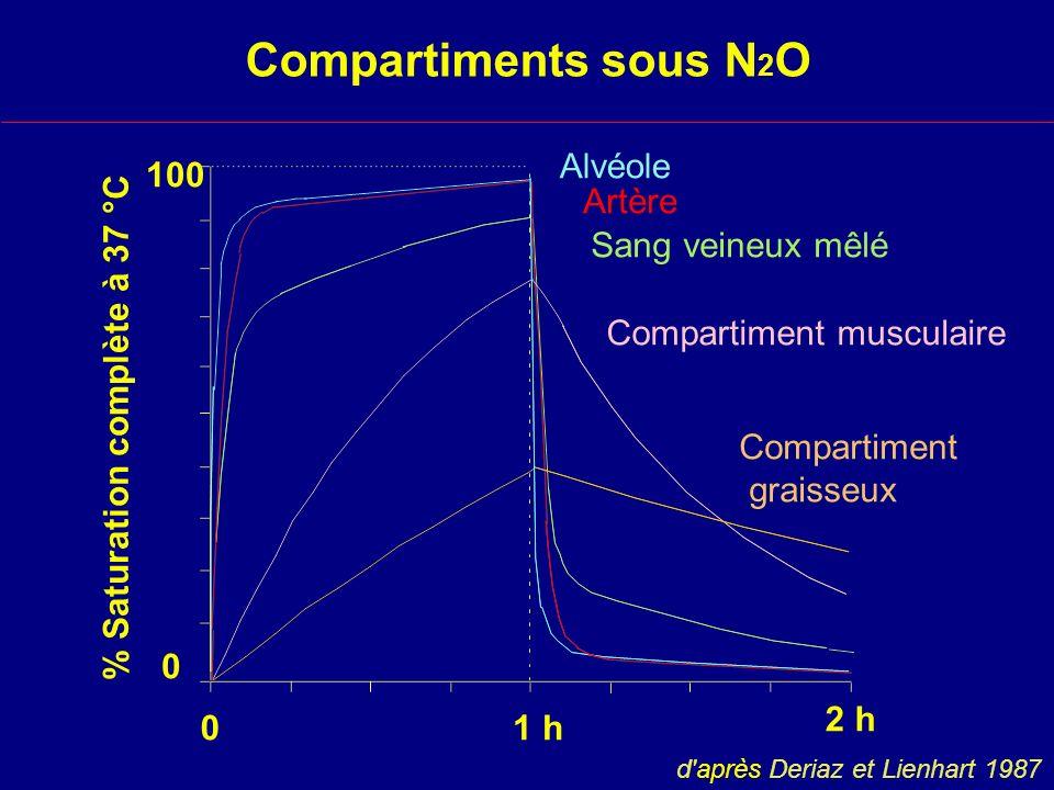 Compartiments sous N2O Alvéole 100 Artère Sang veineux mêlé