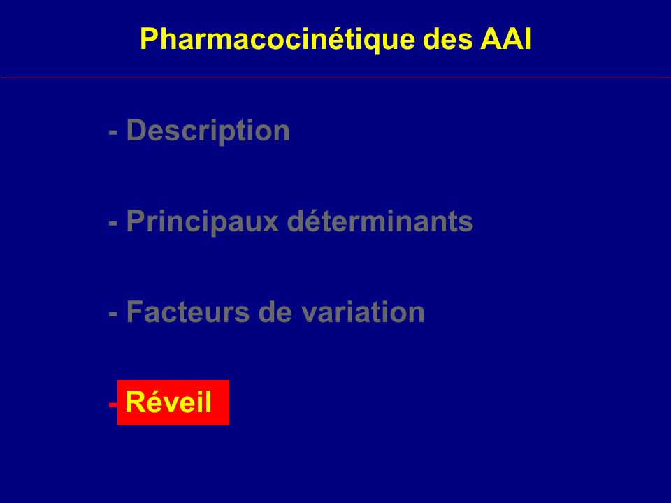 Pharmacocinétique des AAI