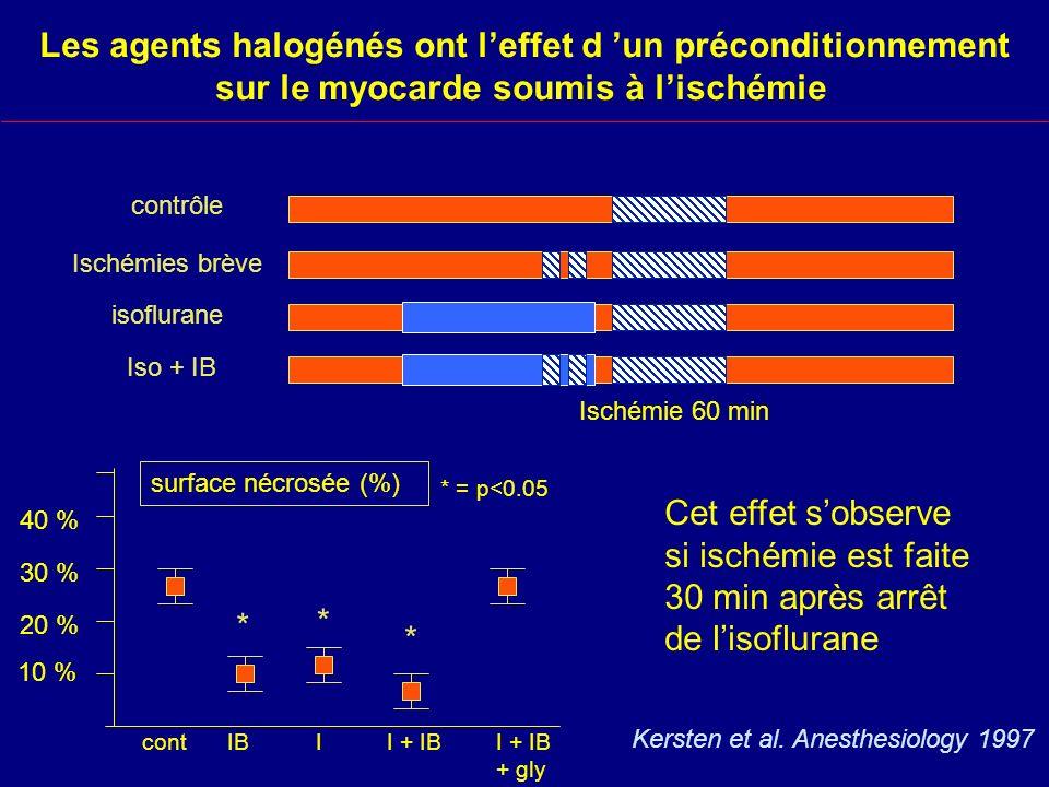 Les agents halogénés ont l'effet d 'un préconditionnement sur le myocarde soumis à l'ischémie