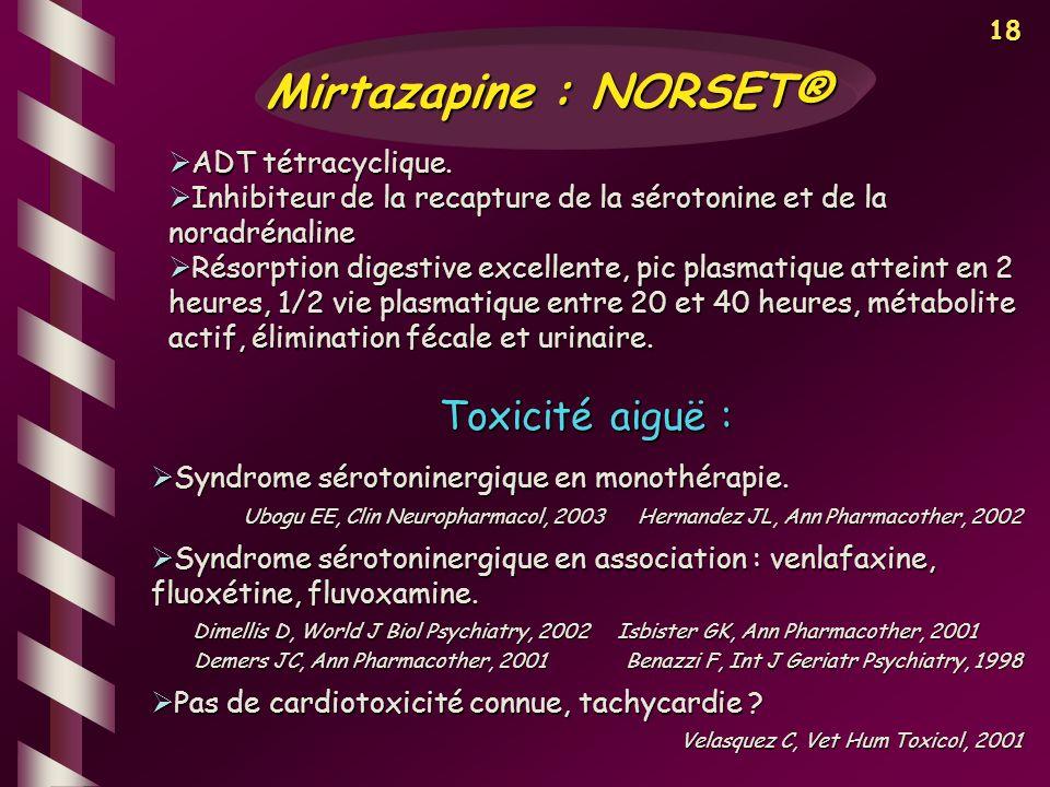Mirtazapine : NORSET® Toxicité aiguë : ADT tétracyclique.