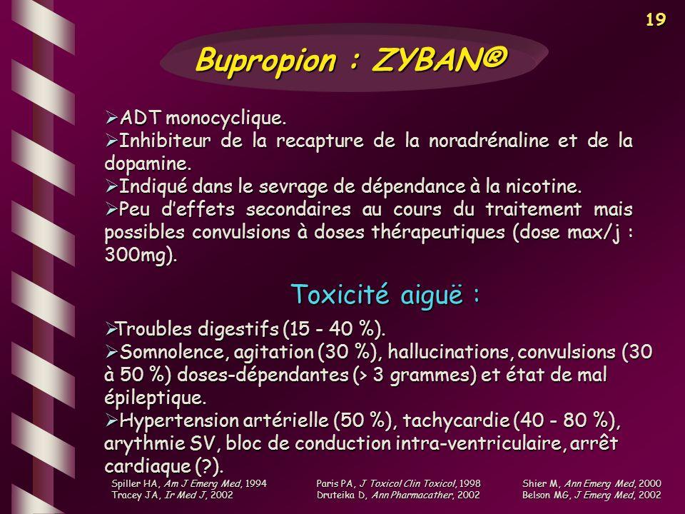 Bupropion : ZYBAN® Toxicité aiguë : ADT monocyclique.