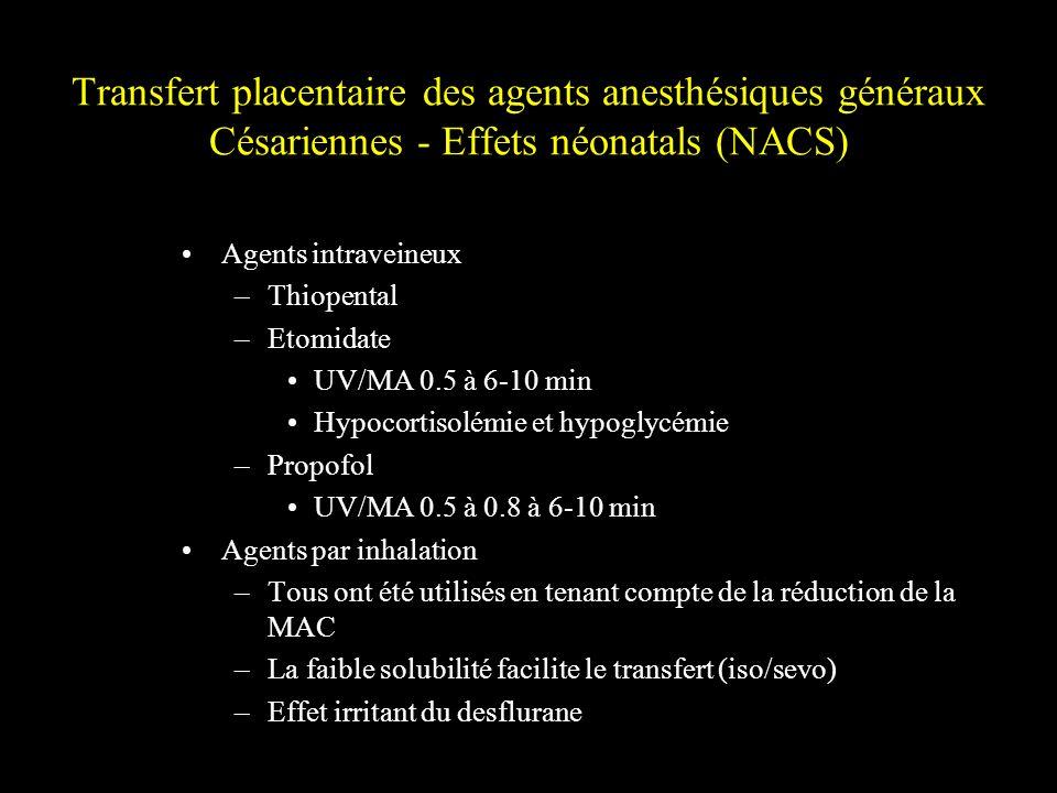 Transfert placentaire des agents anesthésiques généraux Césariennes - Effets néonatals (NACS)