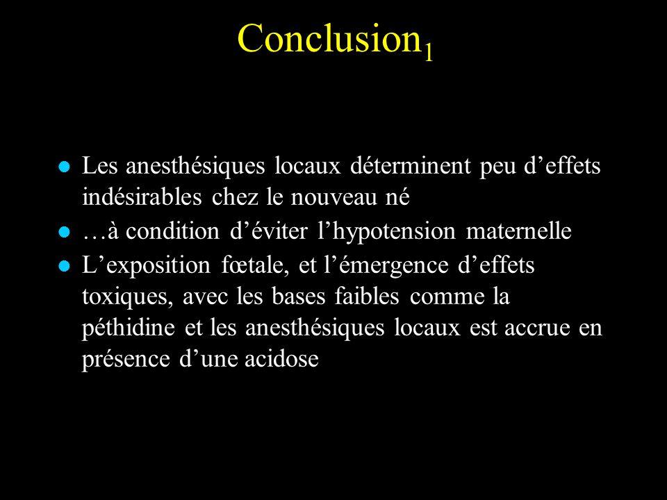 Conclusion1 Les anesthésiques locaux déterminent peu d'effets indésirables chez le nouveau né. …à condition d'éviter l'hypotension maternelle.