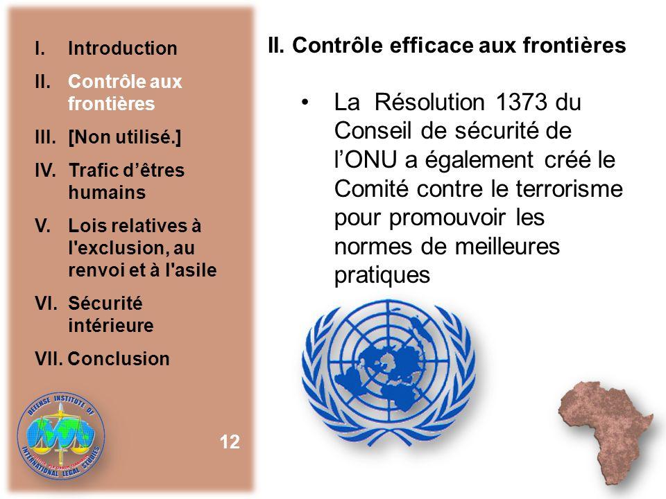 II. Contrôle efficace aux frontières