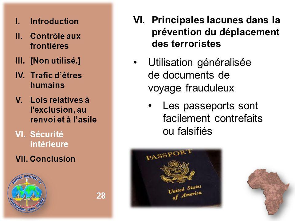 Utilisation généralisée de documents de voyage frauduleux