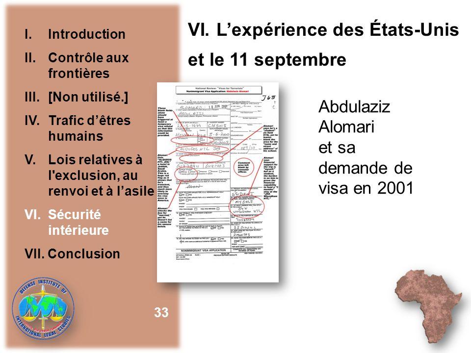 VI. L'expérience des États-Unis et le 11 septembre