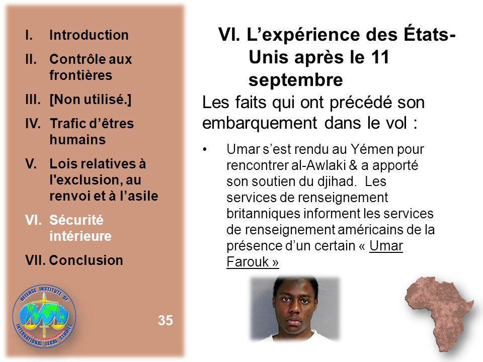 VI. L'expérience des États-Unis après le 11 septembre