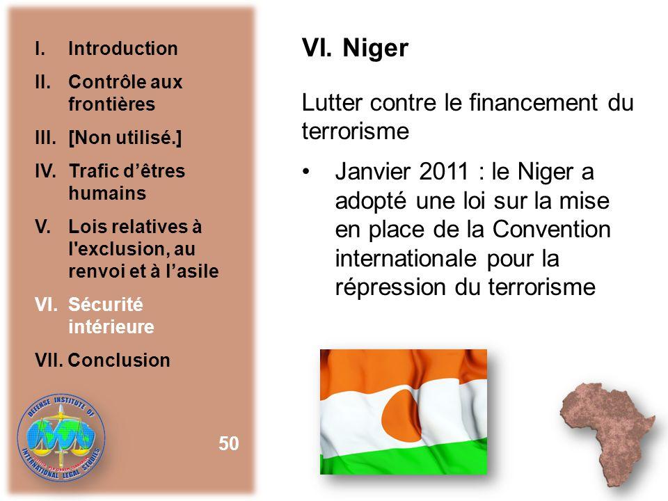 VI. Niger Lutter contre le financement du terrorisme