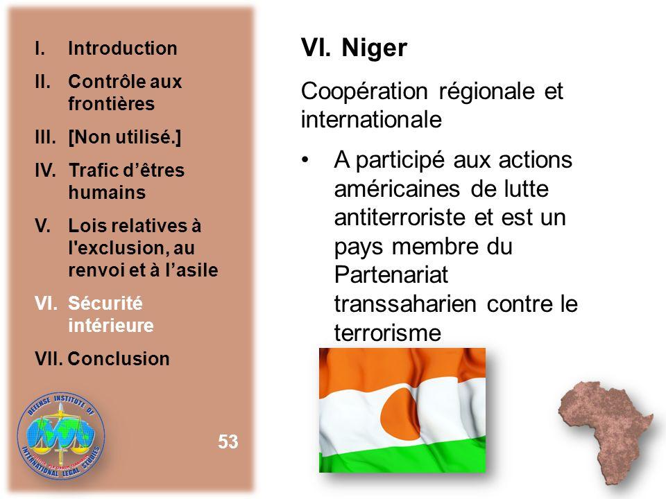 VI. Niger Coopération régionale et internationale