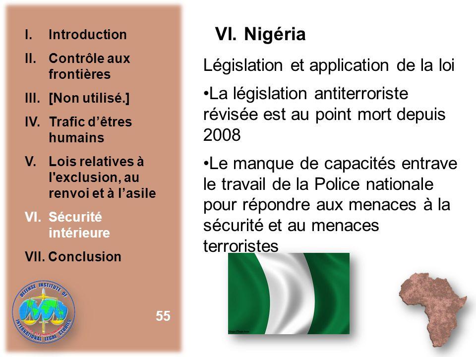 VI. Nigéria Législation et application de la loi