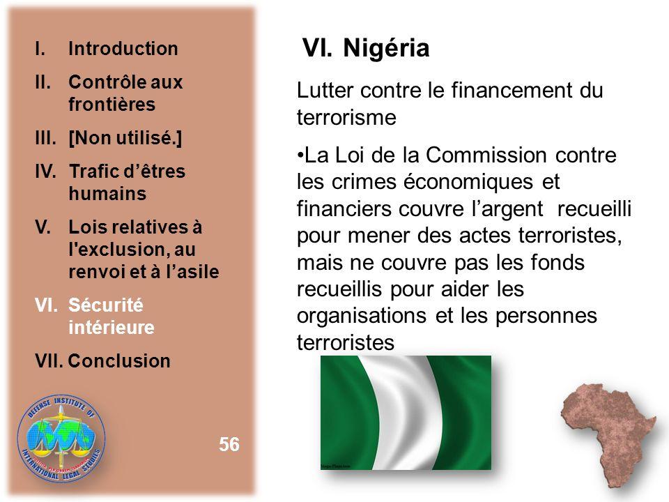 VI. Nigéria Lutter contre le financement du terrorisme