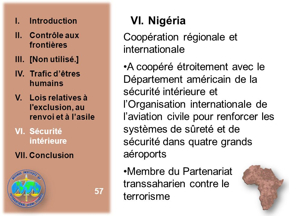 VI. Nigéria Coopération régionale et internationale