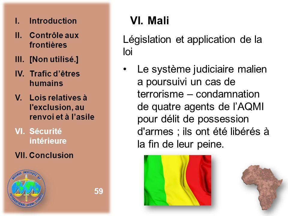 VI. Mali Législation et application de la loi